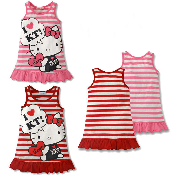 06699079b Kids girls clothes cute cartoon printing cat Dress baby girls nice casual  Clothes lovely baby girls pretty dress