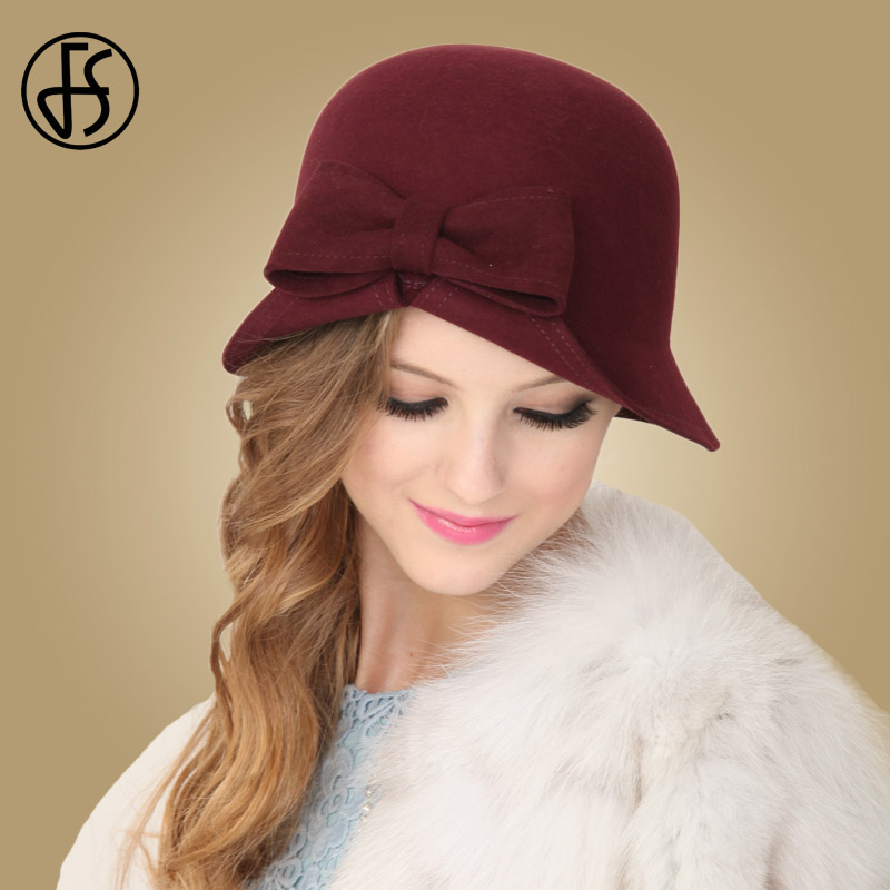 FS Red Hats Wool Women Winter Fedoras Lady Bowknot French Artist Hat Cloche Bowler Vintage Female