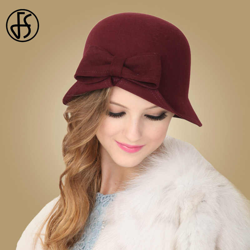 c6198e6e8b3 FS Red Hats Wool Women Winter Fedoras Lady Bowknot French Artist Hat Cloche  Bowler Vintage Female