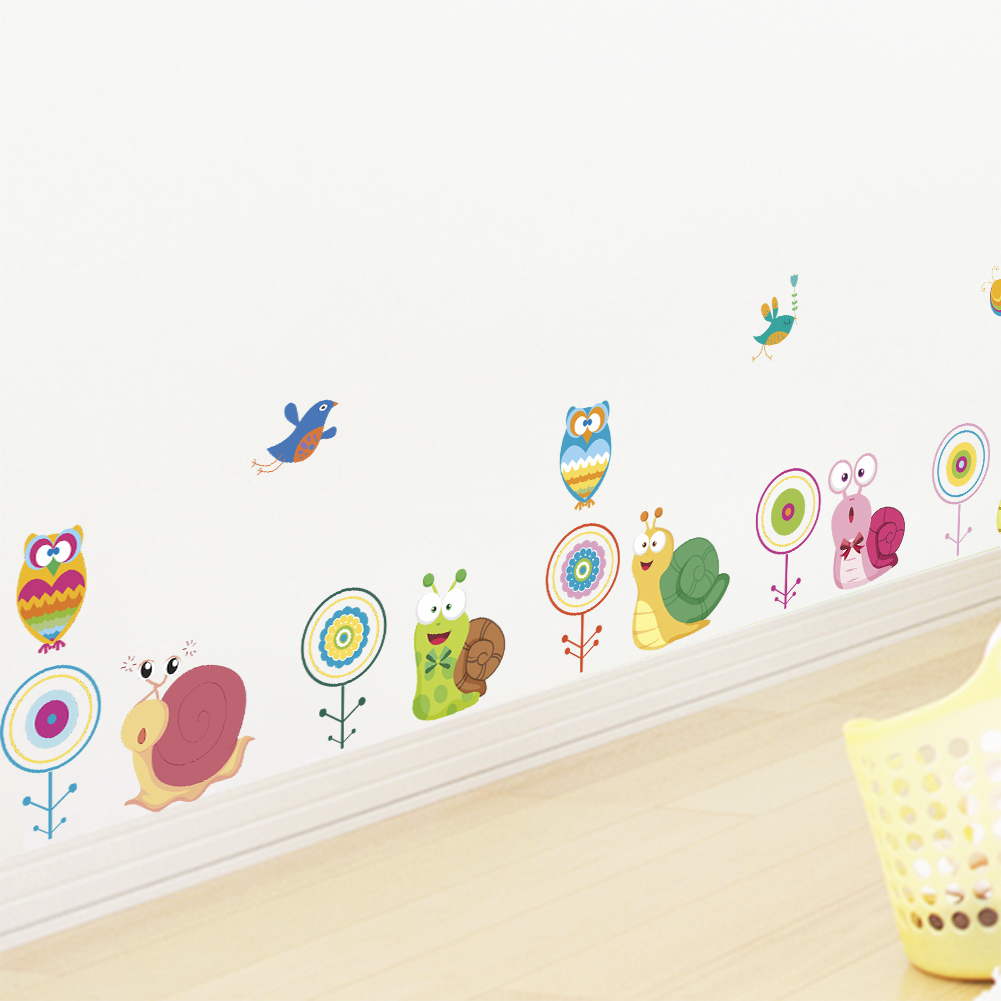 Nature snail owl bird flower wall stickers for kids rooms