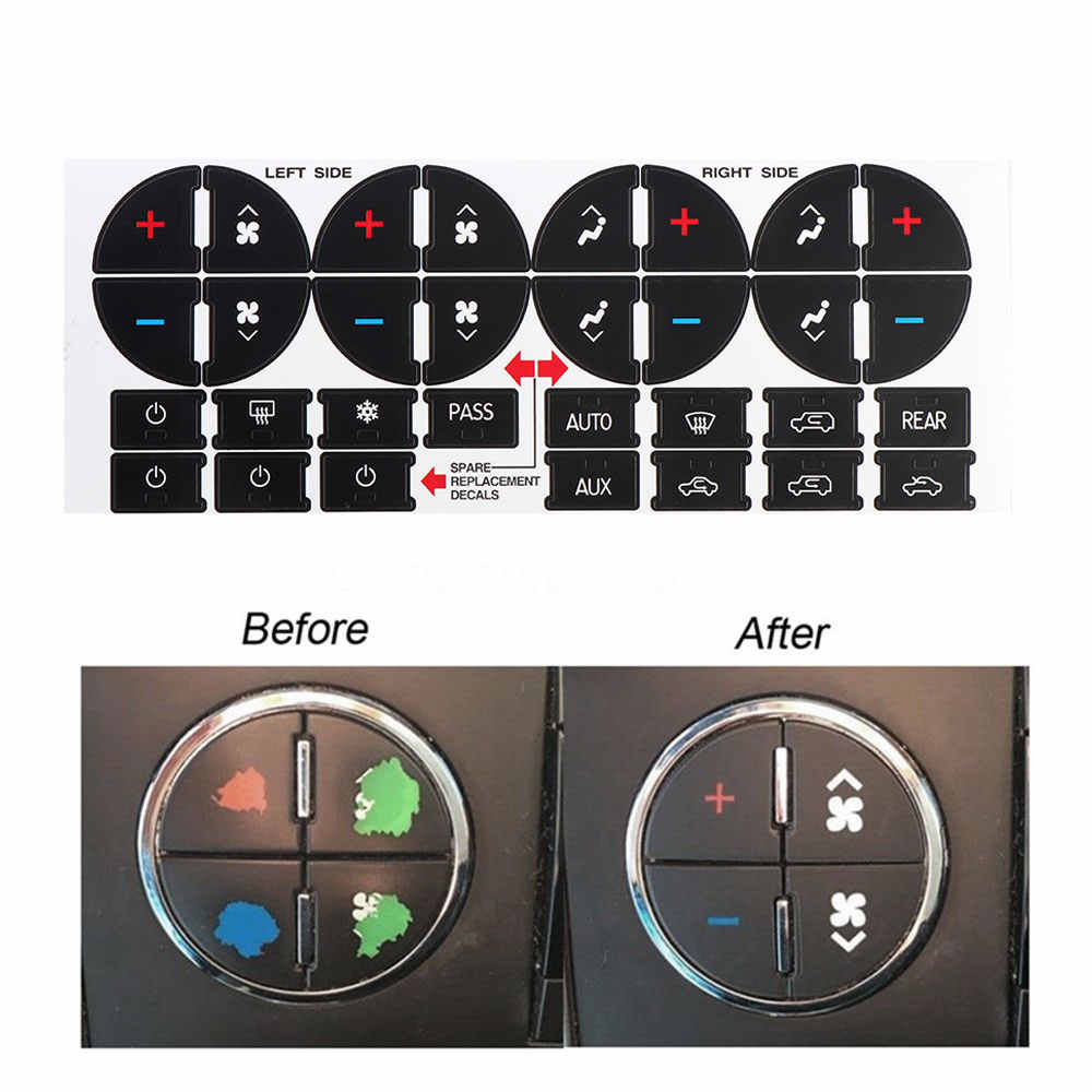 1 Pcs AC Dash Button Repair Stickers  For GMC GMC Vehicles - Fix Ruined Faded A/C Center Controls Car Styling