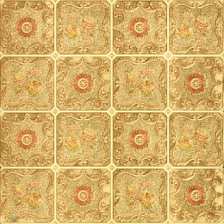 European Luxury Gold 3d Mosaic Wallpaper Fashion Floral
