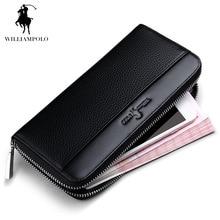 WilliamPOLO 2017 Hot Sale Branded Mens Wallet Leather Genuine Wallet Purses Wallet Long Men Mens Waterproof Wallet #145