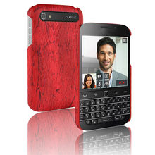 For Blackberry Q20 Classic Case Retro Hard Wood Grain Leather Back Cover for Rear Cell Phone