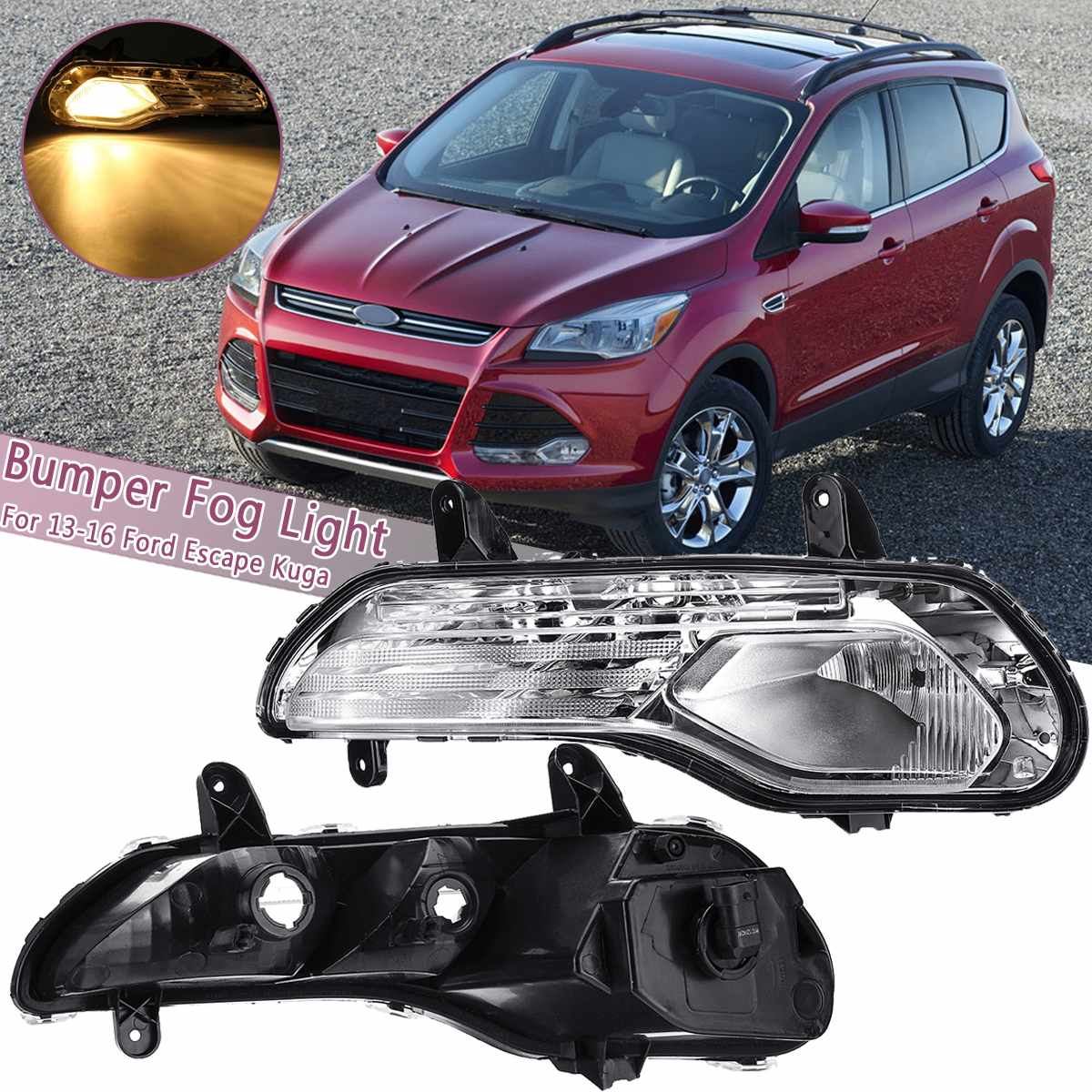 Left/Right Front Bumper Fog Lights Lamps turn signal light with Halogen bulbs For Ford Escape Kuga 2013 2014 2015 2016Left/Right Front Bumper Fog Lights Lamps turn signal light with Halogen bulbs For Ford Escape Kuga 2013 2014 2015 2016