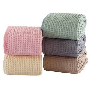 Cotton Waffle Towel Blanket for Bed Soft Throws For Kids Teens Lightweight Bedspread Back To School Teenager Rugs(China)