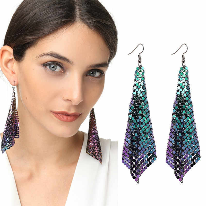 Creative Exaggerated Metal Mesh Sequins Tassel Earrings Long Dangle Drop Earrings Pendant Female for Women Tassle Earrings