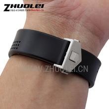 Lujo clásico correa de caucho con hebilla de implementación para los hombres correas de reloj de pulsera de acero inoxidable de 20mm 22mm