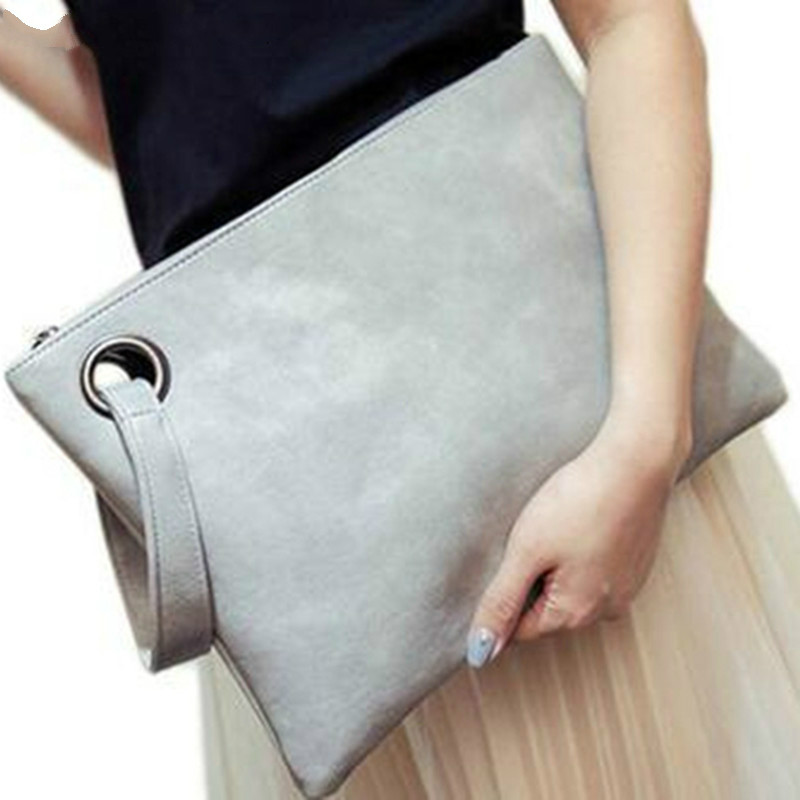 Fashion Solid Handbag Women's Clutch Bag Leather Women Envelope Bag Zipper Evening Bag Female Clutches Handbag Torebki Damskie(China)