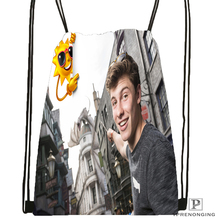 Custom BShawn Mendes Drawstring Backpack Bag Cute Daypack Kids Satchel (Black Back) 31x40cm#180531-03-12