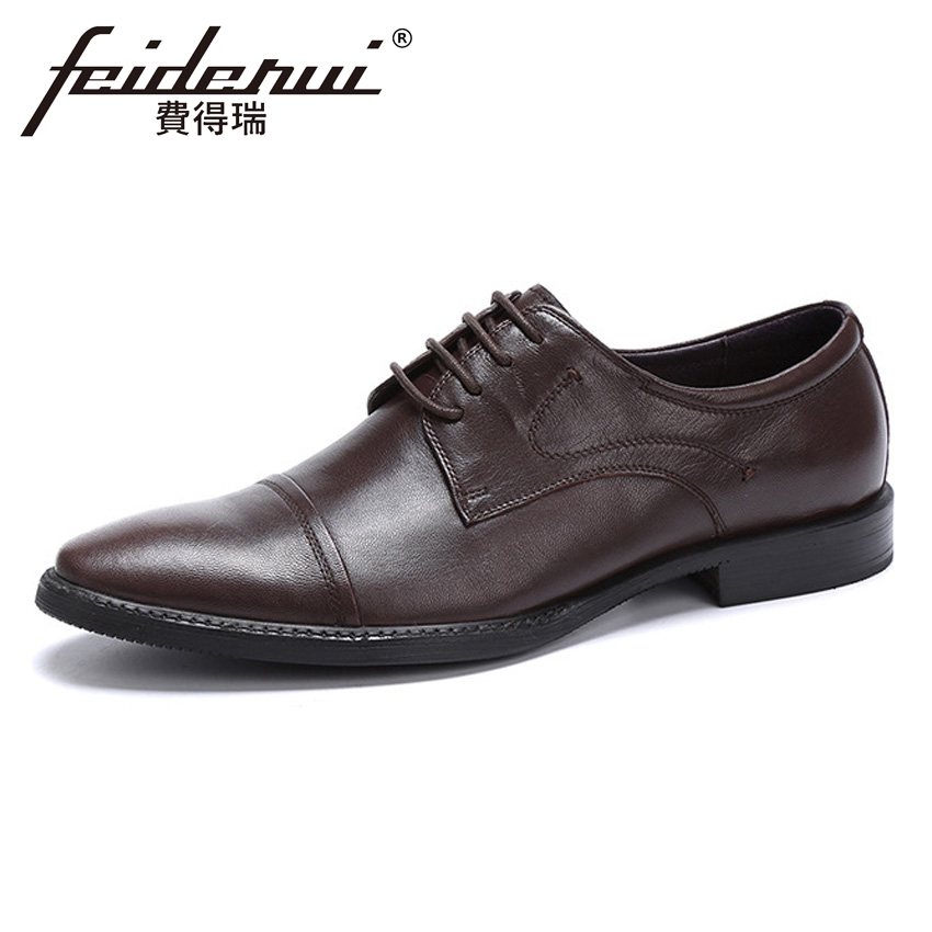 Plus Size New Arrival Men's Formal Dress Office Footwear Genuine Leather Round Toe Lace-up Man Derby Wedding Party Shoes YMX410 new arrival men casual business wedding formal dress genuine leather shoes pointed toe lace up derby shoe gentleman zapatos male