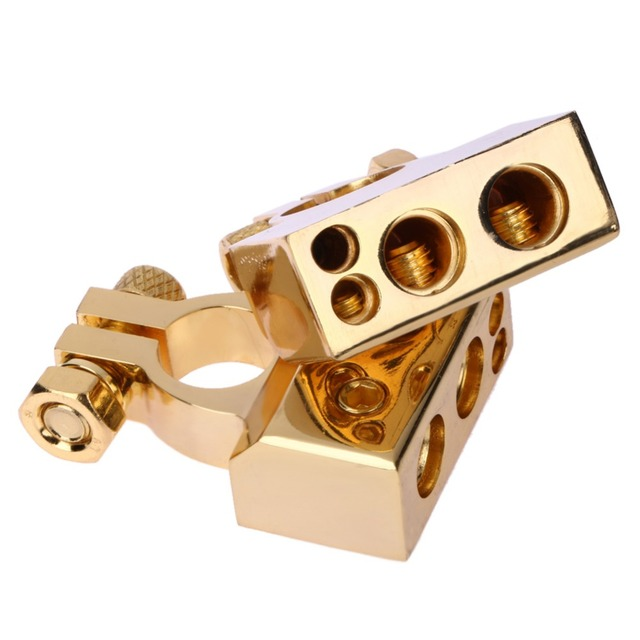 2PCS Gold Plated Car Auto Positive/Nagative Battery Terminal F 0/1 2 4 8 AWG