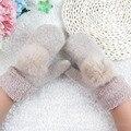 HQ 2017 New Fashion Women's Winter Whole Fingers Gloves Mittens Warm Wool Glove Faux Rabbit Fur Pom Thick Mittens Gloves NXH2367