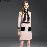 European Fashion Runway Dresses 2018 Women Long Sleeve Black Pearl Dress Winter Ladies Office Dresses Party Vestidos Robe Femme
