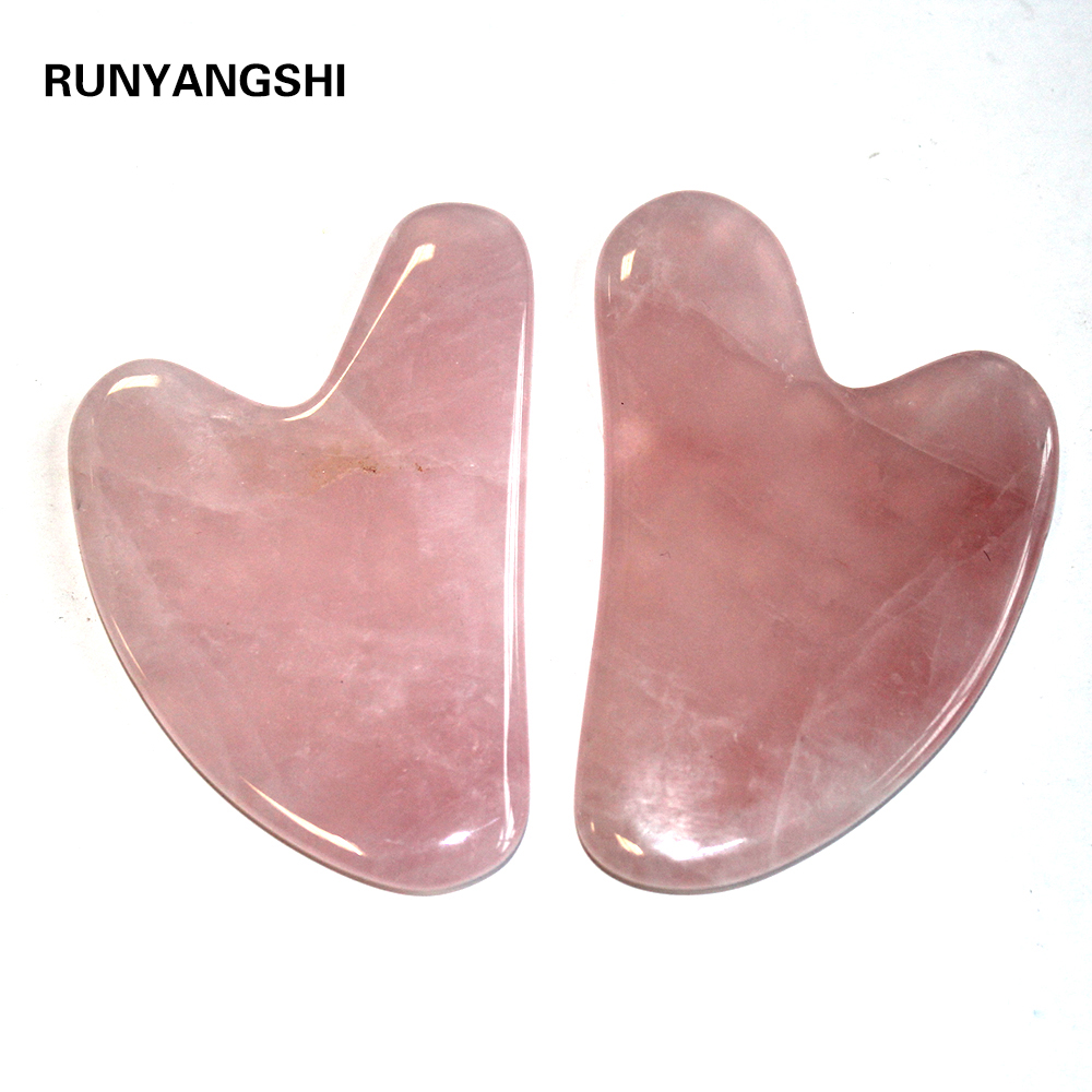 Natural Rose Quartz Gua Sha Board Pink Jade Stone Body Facial Eye Scraping Plate Acupuncture Massage Relaxation Health Care