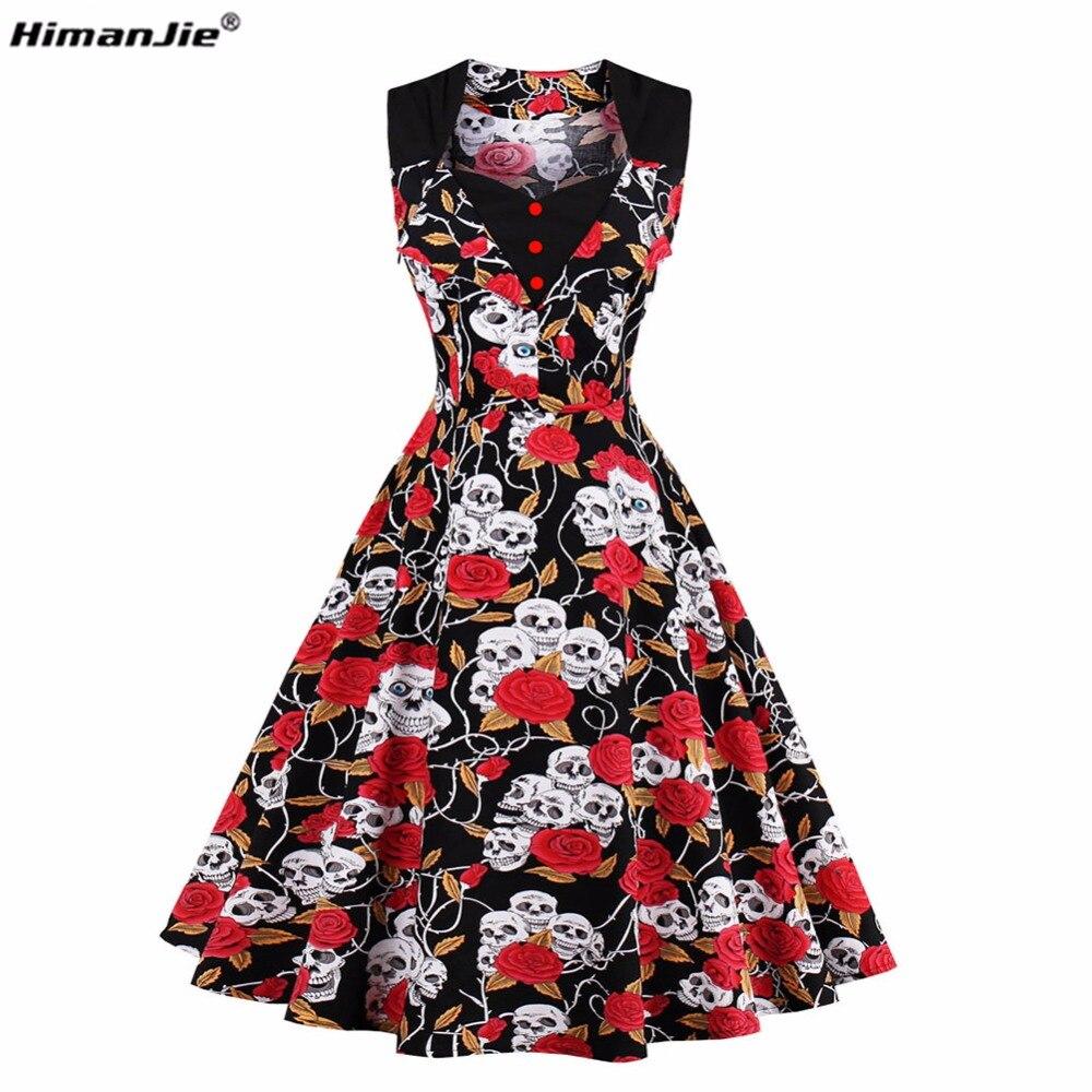 Himanjie 2017 Summer Vintage Dress Skull Head Roses Print V-neck Sleeveless Party Dresses Women Bandage Bodycon Cotton Dress