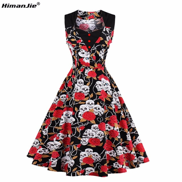 HimanJie 2017 Summer vintage dress Skull Head Roses Print V-Neck sleeveless Party Dresses Women Bandage Bodycon cotton Dress