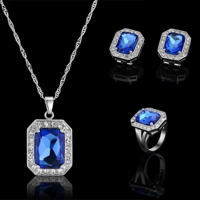 Mode Blau Kristall Stein Hochzeit Schmuck-Sets Für Bräute Silber Farbe Halskette Ohrring Ring Set Für Frauen Afrikanischer Schmuck Sets