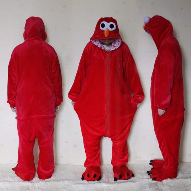 R$ 139 54 |[Wiki da loja] New Designer Sesame Street Elmo Cookie Monster  Adulto Unisex Cosplay Pijama Macacão Para O Dia Das Bruxas em de no