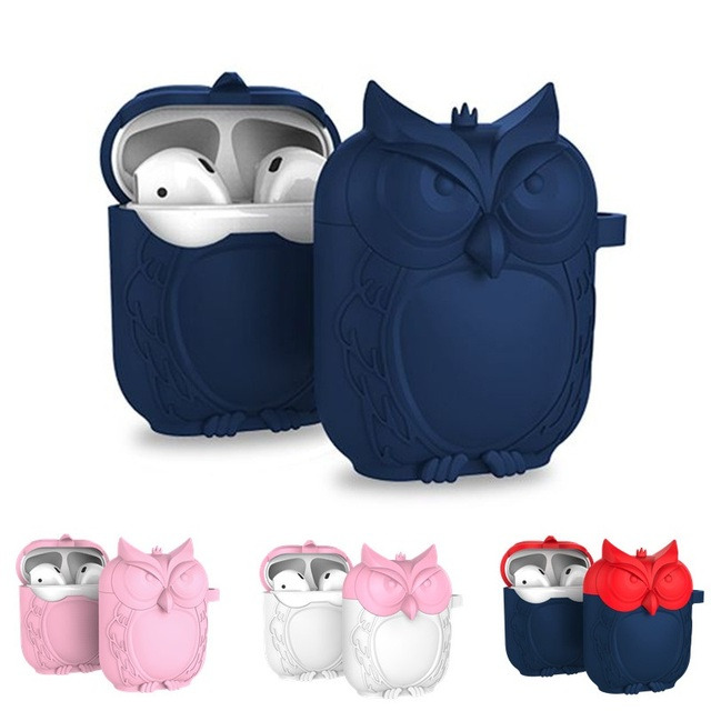 Owl Shape Silicone Shockproof Earphone Case Hook For Apple AirPods
