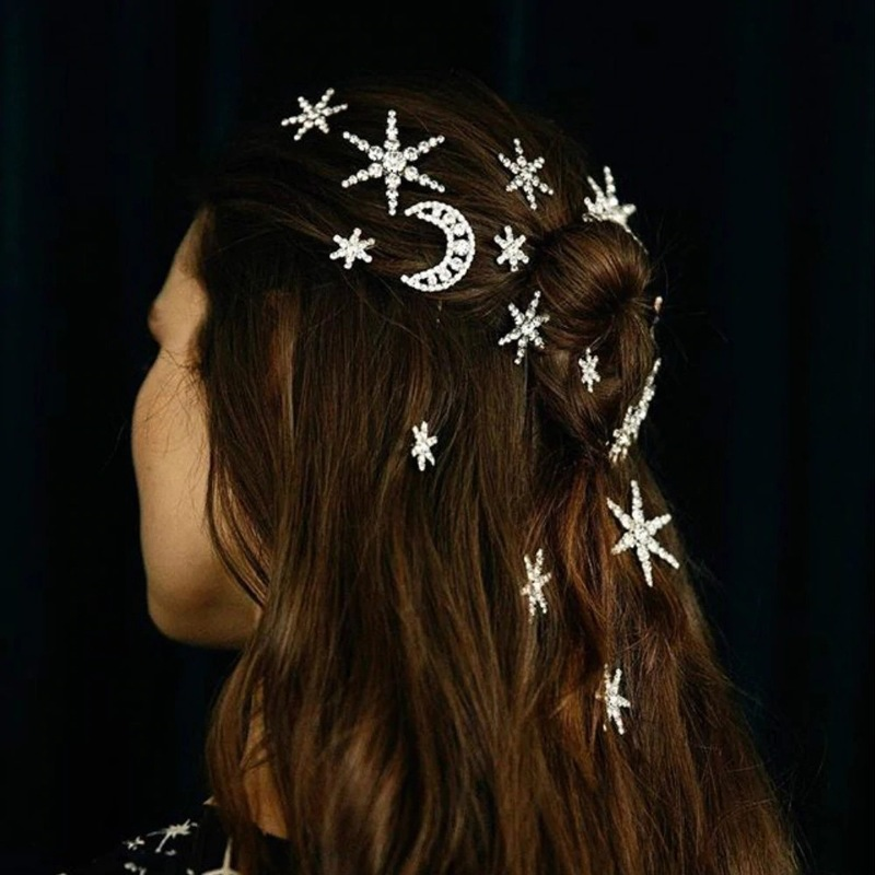 Cross border jewelry water drill star moon shining bride 39 s hairpin starry hairdressing in Hair Jewelry from Jewelry amp Accessories