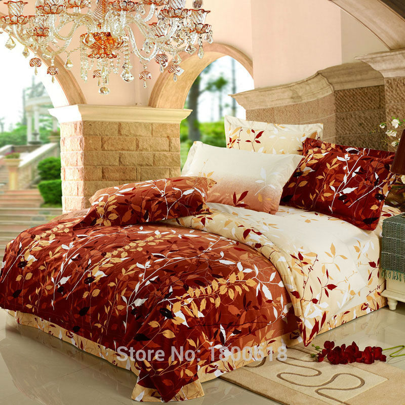2015 4pcs Comfort Set Late Autumn Leaf Bedding Sets Cheap ...