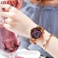 OLEVS Quartz Ladies Watches Mesh Stainless Magnet Buckle Women Wrist Watch Reloj Mujer Rose Gold Luxury montre femme Waterproof