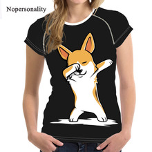 Nopersonality Floral Corgi Dog T Shirt for Women Stylish Ladies Summer 3d Short Sleeve Tshirt Casual Flower Style T-shirt Tees