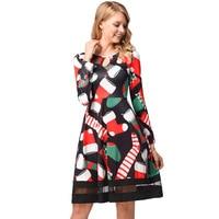 BLINGSTORY Elegant Christmas Cartoon Europe Boots Printing Mesh Autumn Winter Long Sleeve Dress HYD1210