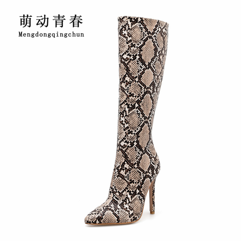 New Europe Women Boots Fashion Snake Print Thin Heels Boots Women Knee High Pointed Toe Zipper Boots Sexy Party Nightclub Boots