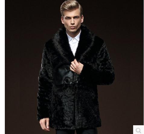 Mens Invierno Escudo de Piel de Visón Faux Fox Cuello de Piel Negro Botón de la Bocina masculino Faux Fur Abrigos Negro Más Tamaño Abrigos S/4Xl J1648-3