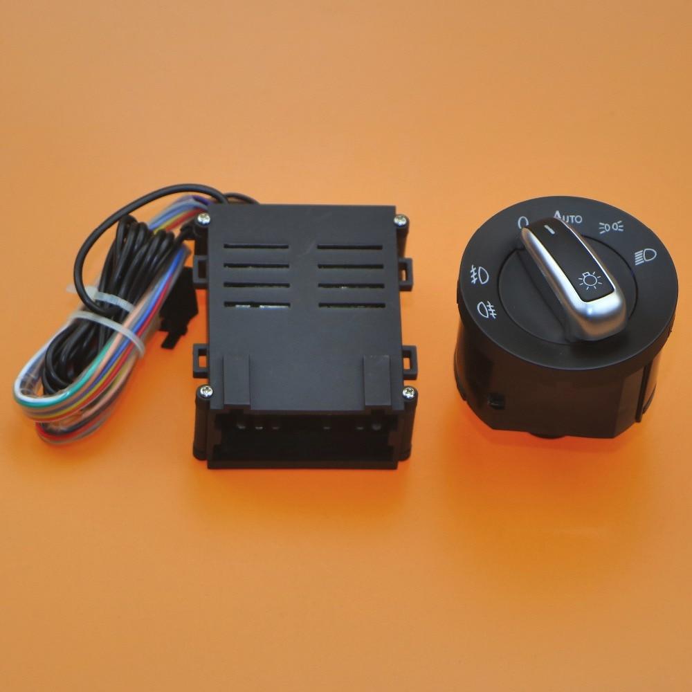 1 Set Car lights switch chrome auto sensor light for VW Passat B5 Bora Polo Golf