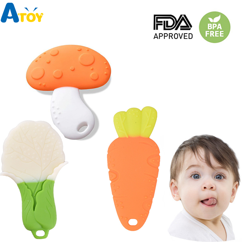 Silicone Baby Teether Vegetable Shape Mushroom Carrot Teether Newborn Teething Beads Necklace  Toys For Molar Baby Oral Care