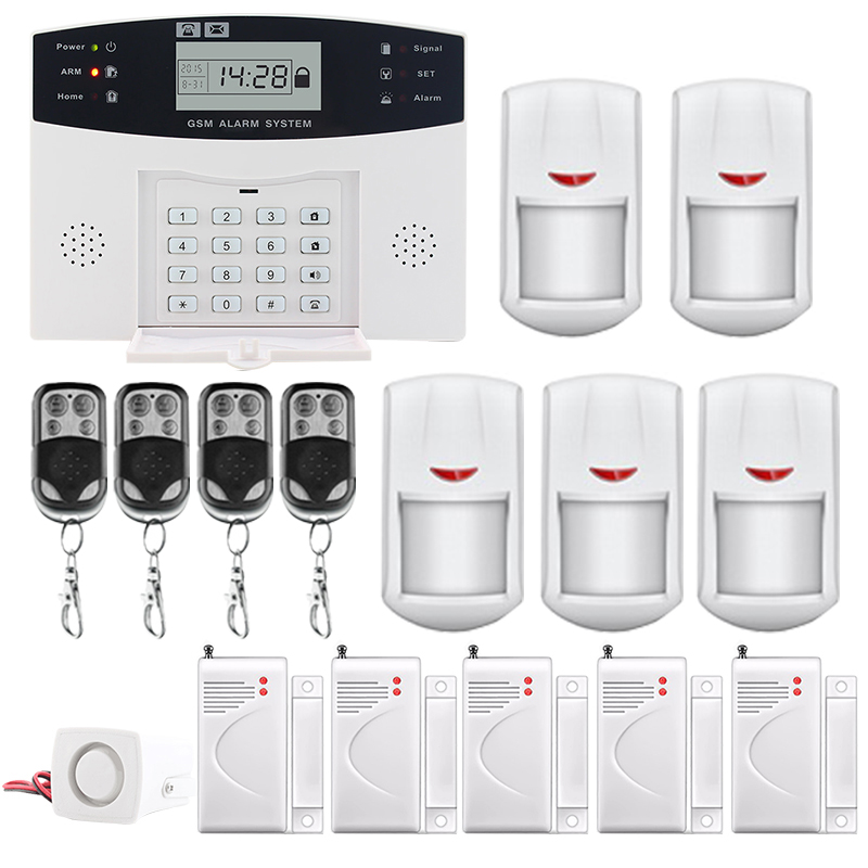 Saful top quality LCD Display Wireless GSM &Home Security Alarm System SMS and Smoke Sensor Russian/English/Spanish/French voice wireless smoke fire detector for wireless for touch keypad panel wifi gsm home security burglar voice alarm system