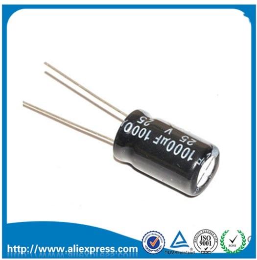 10PCS Aluminum Electrolytic Capacitor  1000 Uf 25v Size 10*17mm 25 V / 1000 UF Electrolytic Capacitor 1000UF 25V