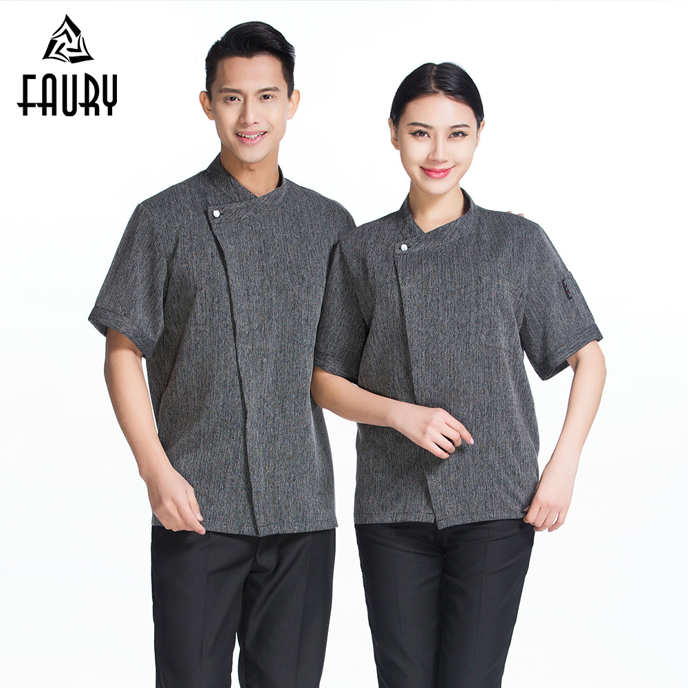 High Quality Chef Uniform Women Men Short-sleeve Kitchen Restaurant Bakery Sushi Chef Jacket Waiter Workwear Chef Jackets