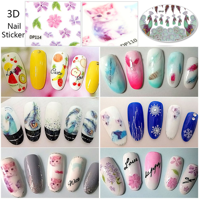 20 Styles New Nails Art Sticker Flower Animal Feather Nail Decals ...