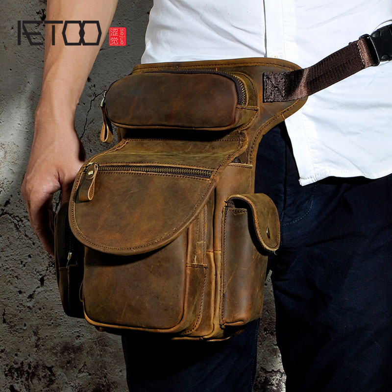 AETOO The first layer of oil wax leather leather foreign trade retro men tide cool phone camera leg bag purse aetoo first layer of leather korean version of the tide ladies oil wax leather handbag ladies shoulder messenger bag