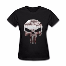 Cheap Sale Bloody Punisher Skull Black Friday T Shirt Women Top Woman's Tee Shirt Tops Clothing Summer Female terror tumblr(China)