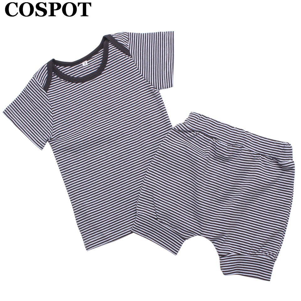 COSPOT Baby Girls Boys 2Piece Clothing Set Newborn Cotton Summer Suits Shorts+T Shirt Baby Striped Fashion Set 2018 New 35