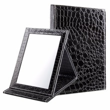 Black Size M 15 20 5 1 6cm Alligator Pattern Portable Foldable Makeup Mirror Leather Cosmetic