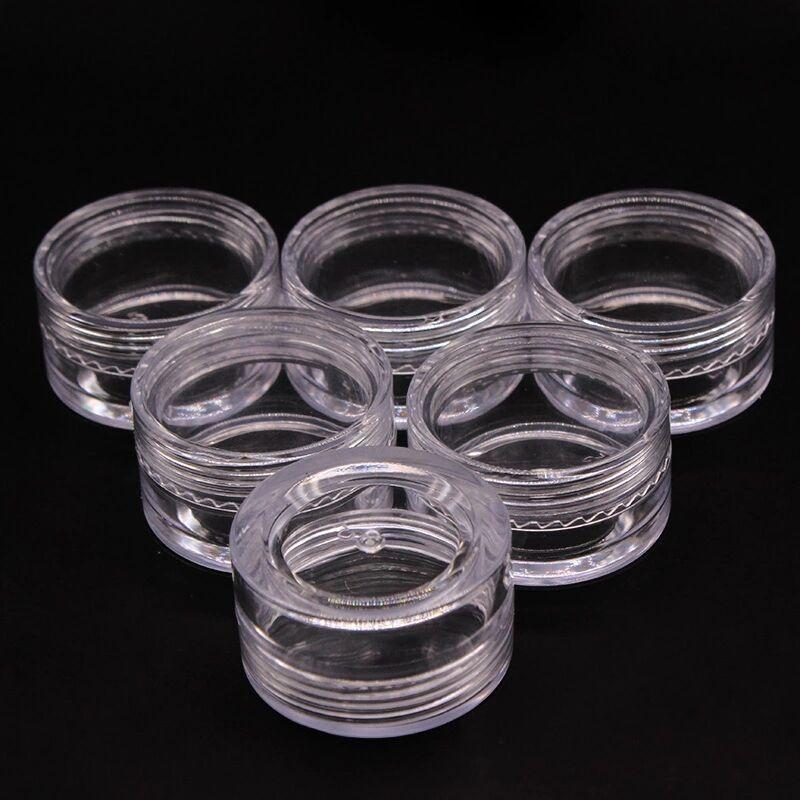 200 шт 5 г маленькие прозрачные круглые банки для бутылок с крышками жесткий пластиковый горшок хранение для принадлежностей для дизайна ногтей F0003X