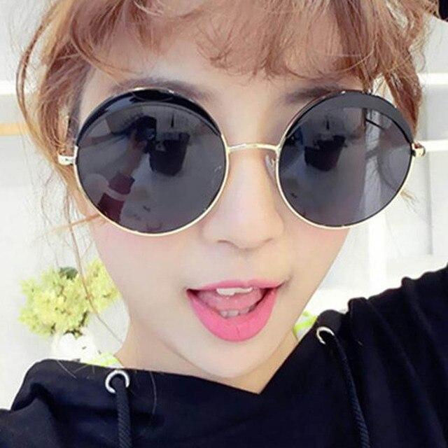 de036c12fc1 2016 New Big Round Frame Sunglasses For Women Vintage Retro Korean Fashion  Sunglasses Womens Brand Designer Oculos Glasses