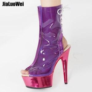 Image 1 - Jialumowei botas femininas, botas de tornozelo peep toe, lace up, transparente, pvc, metálico, plataforma fina, 15cm 2018 sapatos de salto alto,