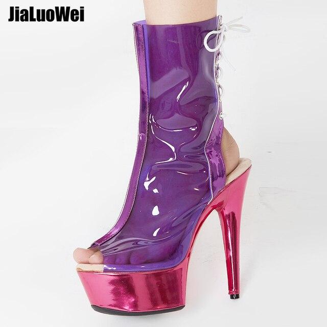 Jialumowei botas femininas, botas de tornozelo peep toe, lace up, transparente, pvc, metálico, plataforma fina, 15cm 2018 sapatos de salto alto,