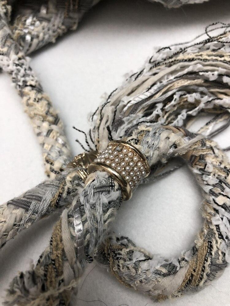 18 autumn Fashion show women's high-end quality tweed woven lace tassel dress Short sleeve miniskirt lattice Belt mini dress 11