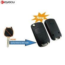 Keyecu Replacement Shell Modified Flip Folding Key Shell Case FOB 2 Button for Opel Corsa Astra Kadett Monza Montana HU46