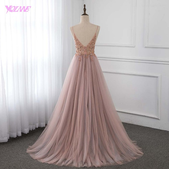 Sweet Dusty Pink Crystal Prom Dresses Long Straps Spaghetti See Through Tulle Evening Gown Slit Right YQLNNE 1