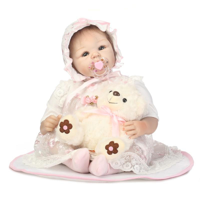 NPK Cute princess with bear plush toy 50cm silicone reborn baby dolls toys for girl 20inch american girls doll babies born doll 2016 hot selling 22cm the first sofia princess dolls toys sophia clover cartoo toys rabbit plush doll