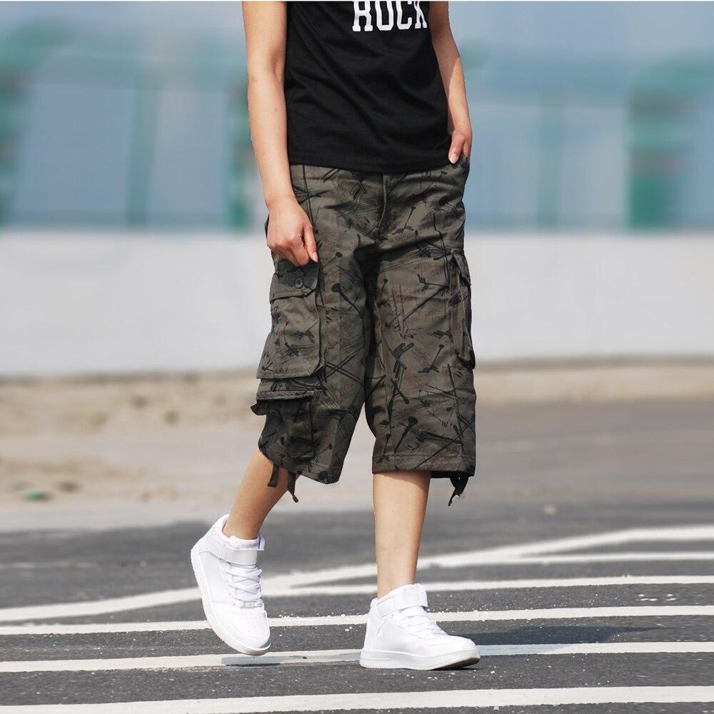 Cargo Pants Multi-Pocket Loose Summer Men's Plus Size Tactical Commado Style Pants Overalls Knee-Length 4 Colors Fashion Pants inc women s multi pocket glow pants 16w sky grey